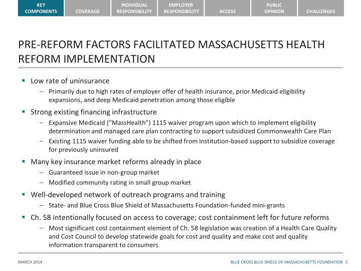 PRE-REFORM FACTORS FACILITATED MASSACHUSETTS HEALTH REFORM IMPLEMENTATION