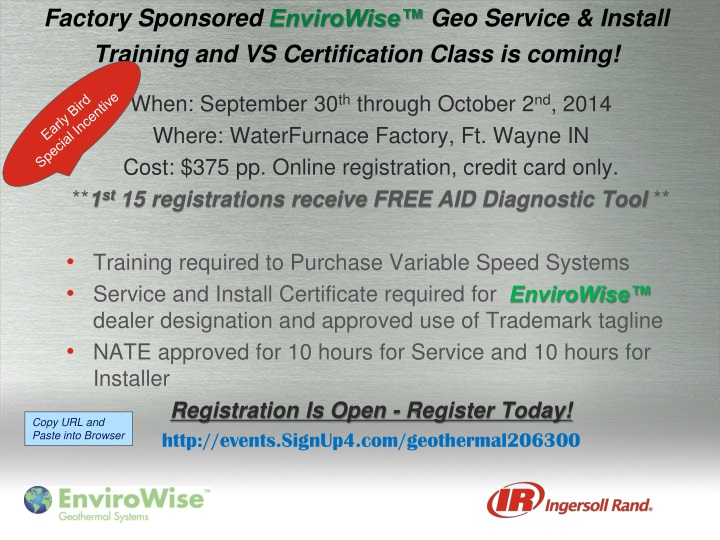 Factory sponsored envirowise geo service install training and vs certification class is coming