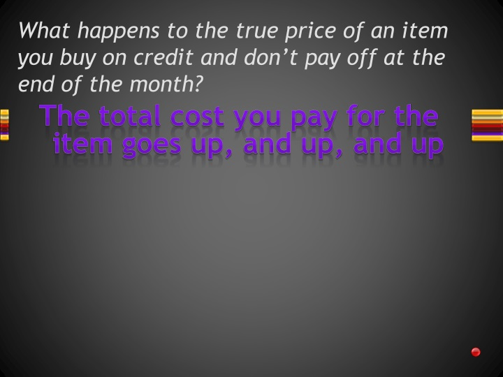 What happens to the true price of an item you buy on credit and don't pay off at the end of the month?