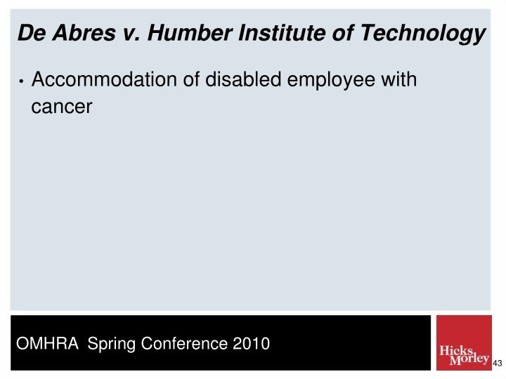 De Abres v. Humber Institute of Technology