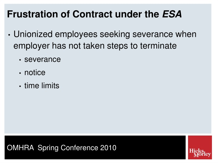 Frustration of Contract under the