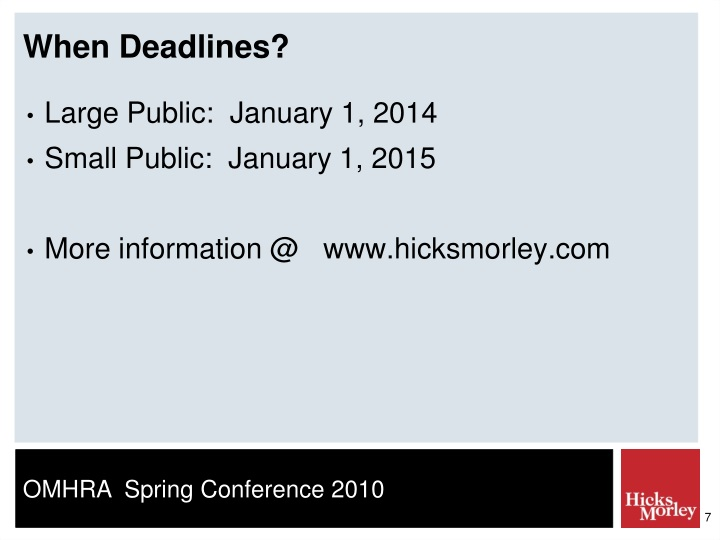 When Deadlines?