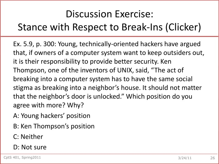 Discussion Exercise: