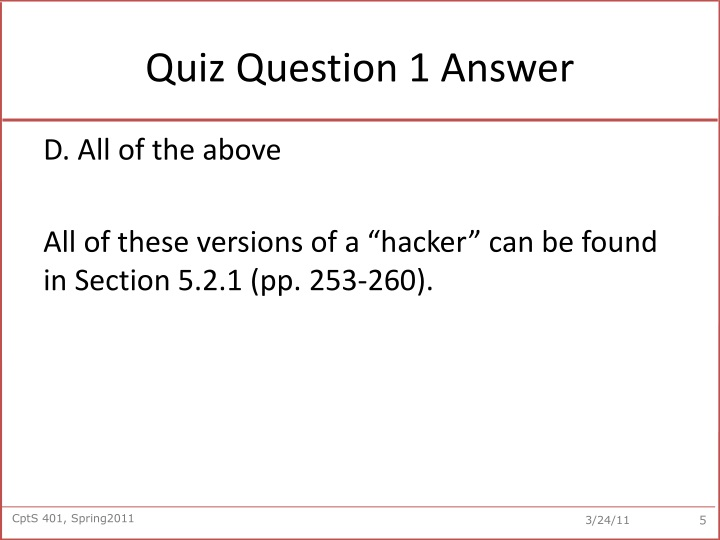 Quiz Question 1 Answer