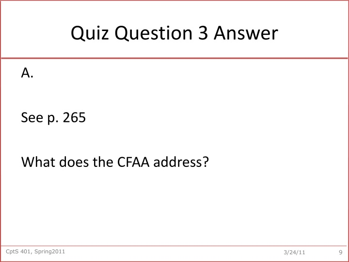 Quiz Question 3 Answer