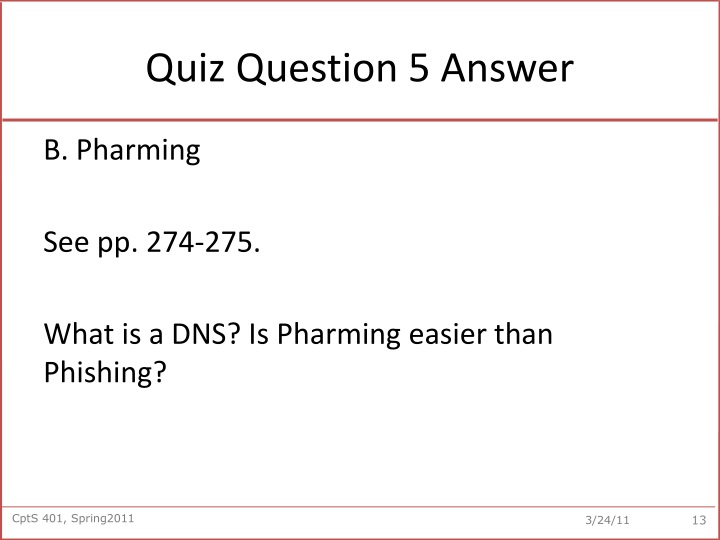 Quiz Question 5 Answer