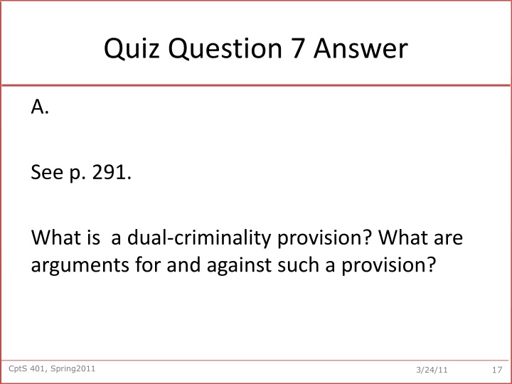 Quiz Question 7 Answer