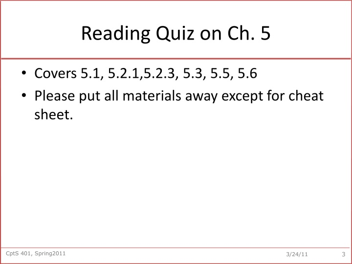 Reading Quiz on Ch. 5