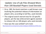 update use of lab files showed more than 100 baseball players used steroids