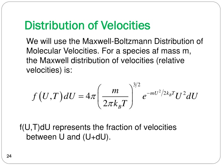 Distribution of Velocities