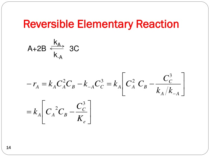 Reversible Elementary Reaction