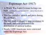 espionage act 1917
