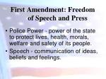 first amendment freedom of speech and press