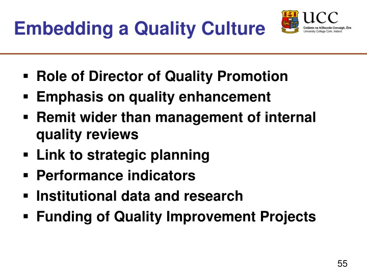 Embedding a Quality Culture