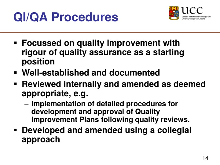 QI/QA Procedures