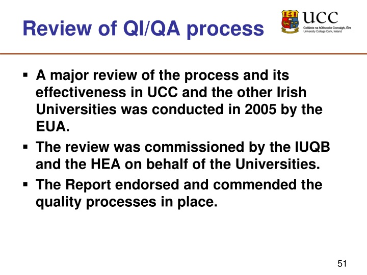 Review of QI/QA process