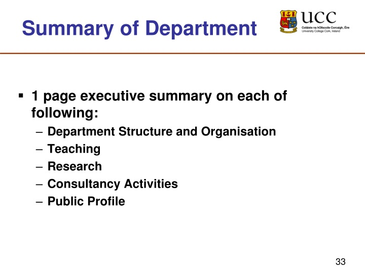 Summary of Department