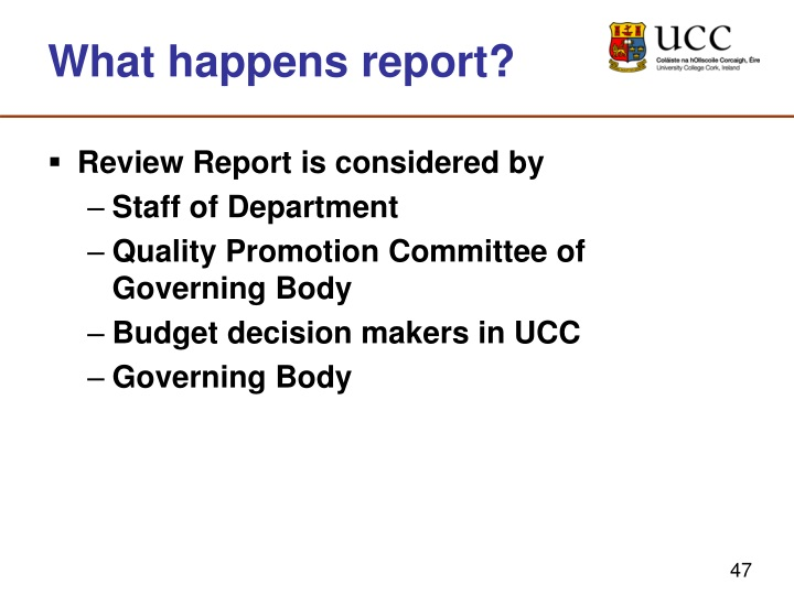 What happens report?