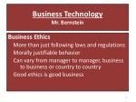 business technology mr bernstein