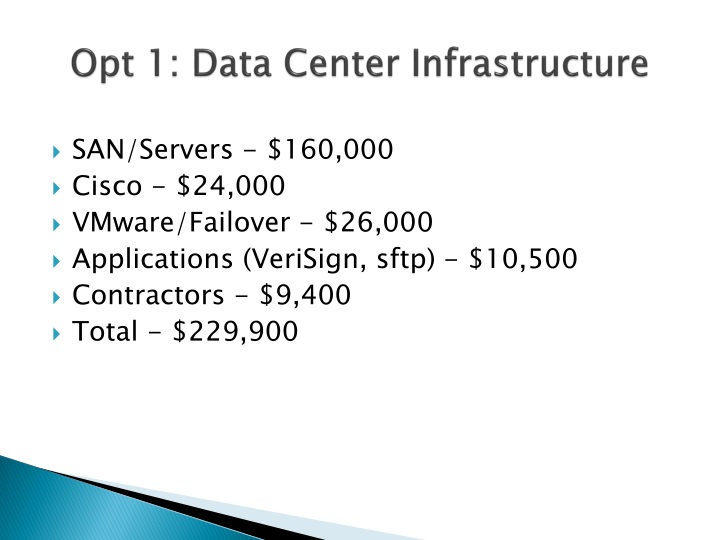 Opt 1: Data Center Infrastructure