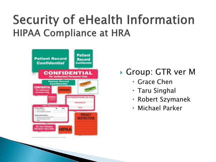 Security of ehealth information hipaa compliance at hra