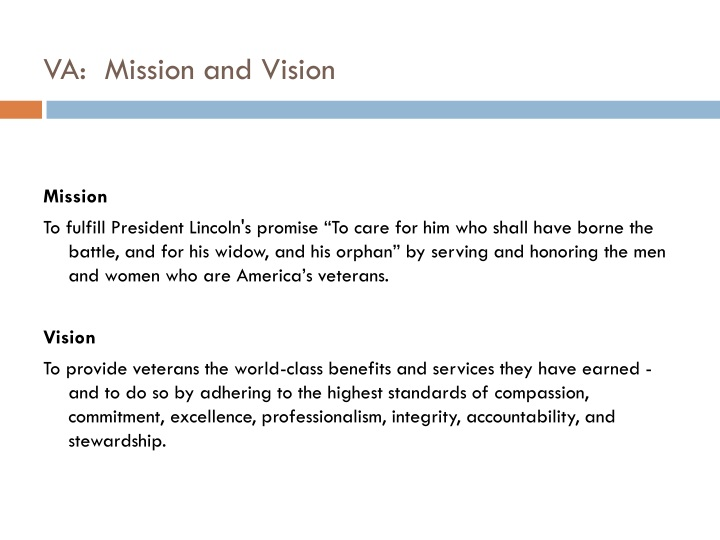 Va mission and vision