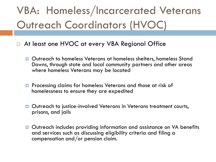 VBA:  Homeless/Incarcerated Veterans Outreach Coordinators (