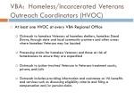 vba homeless incarcerated veterans outreach coordinators hvoc