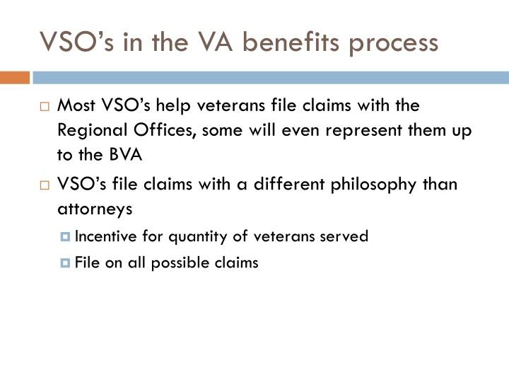 VSO's in the VA benefits process