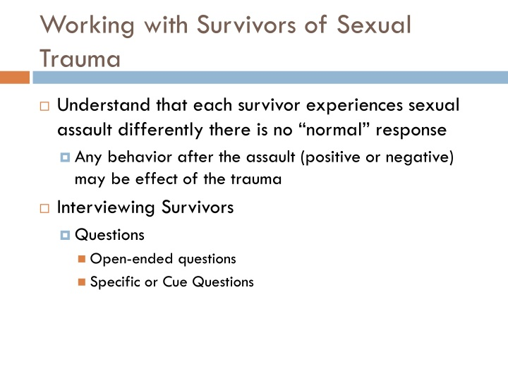 Working with Survivors of Sexual Trauma