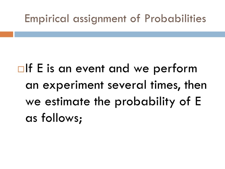 Empirical assignment of Probabilities