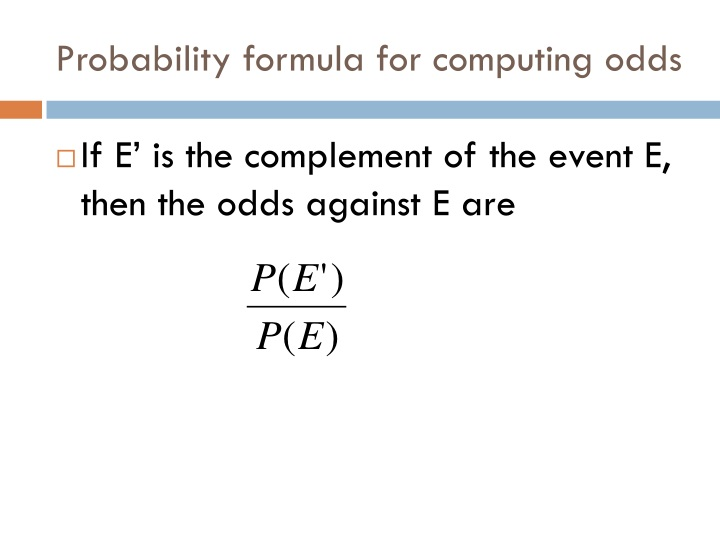 Probability formula for computing odds