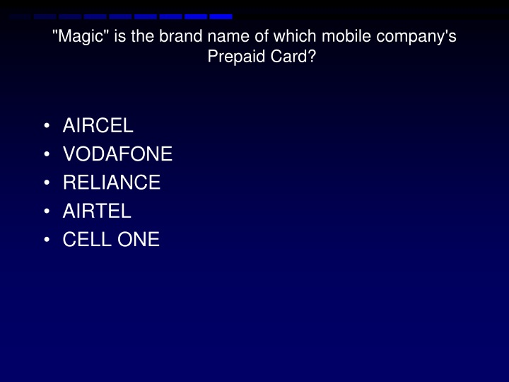"""""""Magic"""" is the brand name of which mobile company's Prepaid"""
