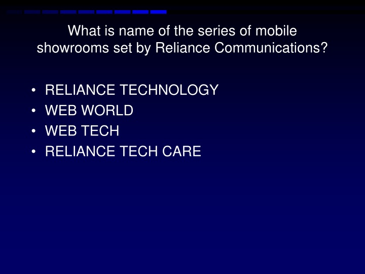 What is name of the series of mobile showrooms set by Reliance Communications?