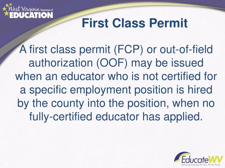 First Class Permit