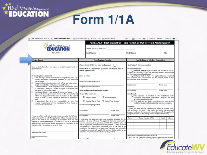 Form 1/1A