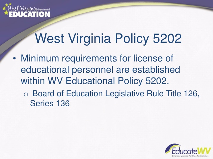 West Virginia Policy 5202