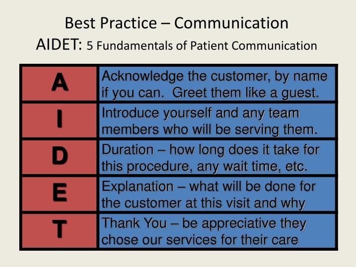 Best Practice – Communication