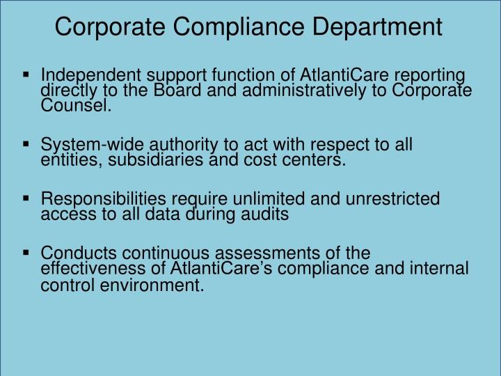 Corporate Compliance Department