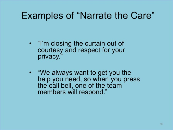 """Examples of """"Narrate the Care"""""""
