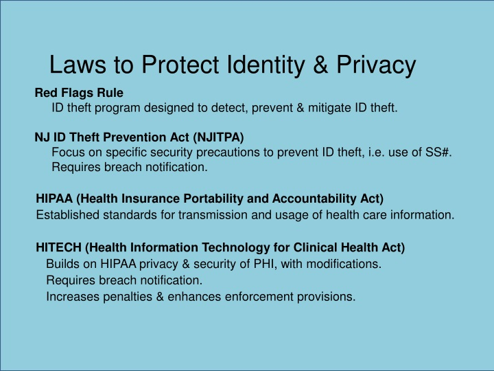 Laws to Protect Identity & Privacy