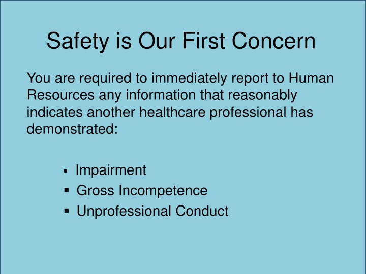Safety is Our First Concern