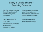 safety quality of care reporting concerns