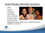 daily weekly monthly activities