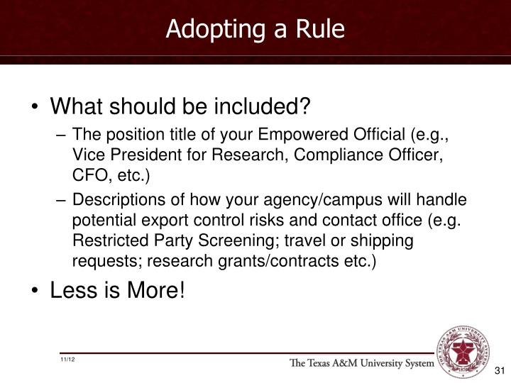 Adopting a Rule