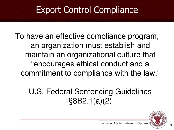 Export Control Compliance