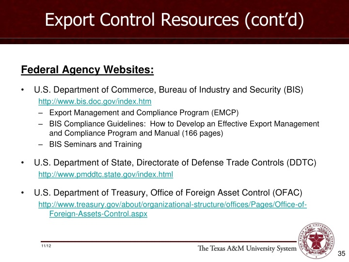 Export Control Resources (cont'd)