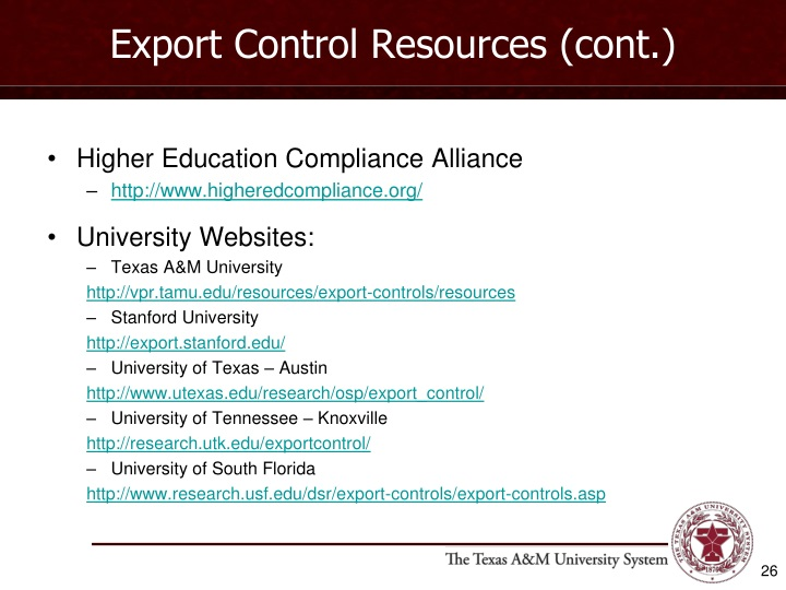 Export Control Resources (cont.)