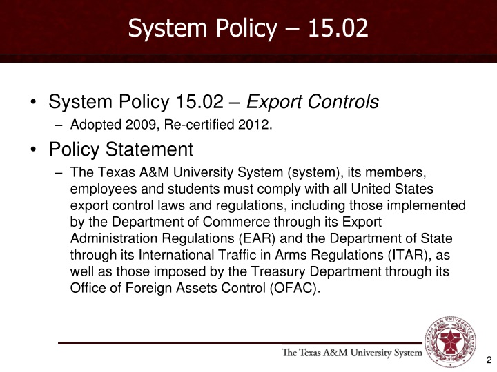 System Policy – 15.02