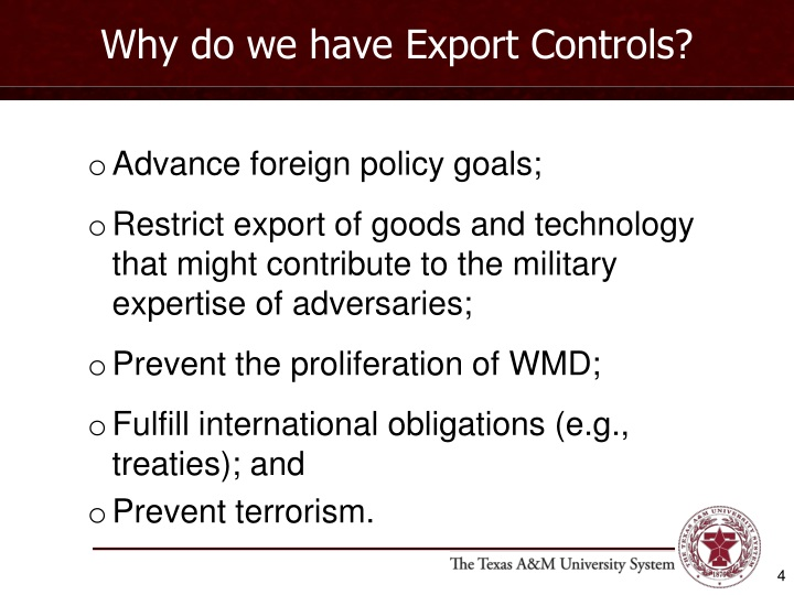 Why do we have Export Controls?